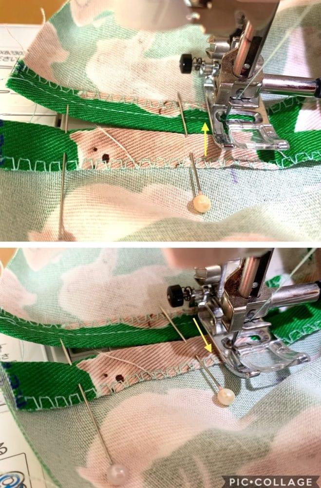ミシンで生地を縫う